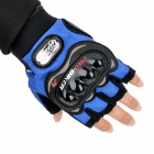 PRO-BIKER MCS-04 Motorcycle Racing Half-Finger Protective Gloves - Blue + Black (Size L / Pair)