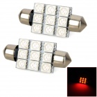 Festoon 39mm 9-5050 SMD Red LED Car Reading / Interior / Door Lamp (2 PCS / 12V)