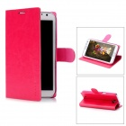 Protective PU Leather PC Back Case Stand w/ Card Slots for Samsung Galaxy Note 2 N7100 - Deep Pink