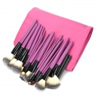 Professional Cosmetic Makeup Brushes Set w/ PU Bag - Deep Pink (26PCS)