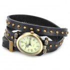 Oval Shaped Rivet Studded Leather Band Analog Quartz Wrist Watch for Women - Black (1 x 377)