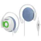 Voiceao 1615MV Ear Hook Stereo Headphones w/ Microphone - Green + White (3.5mm Plug / 1.7m)