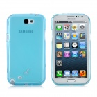 Fashion Protective Soft TPU Back Case + Screen Protector for Samsung N7100 - Translucent Blue