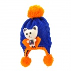 Cartoon Bear Pattern Kid Das Garn gestrickt Double-Layer Cap / Hat - Blue + Orange