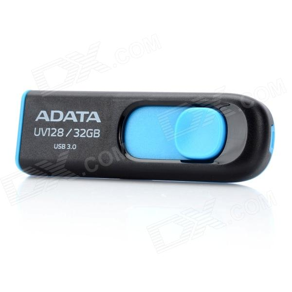 ADATA UV128 retráctil USB 3.0 Flash Drive - Negro + Azul (32GB)