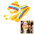 Cute Rabbit Style Ear Protection Kid's Yarn Hat / Cap + Scarf - Yellow + Blue + Deep Pink + White
