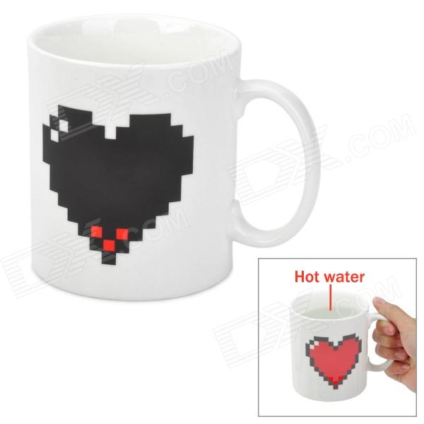 Heart Shaped Color Changing Ceramic Cup - White (475ml)