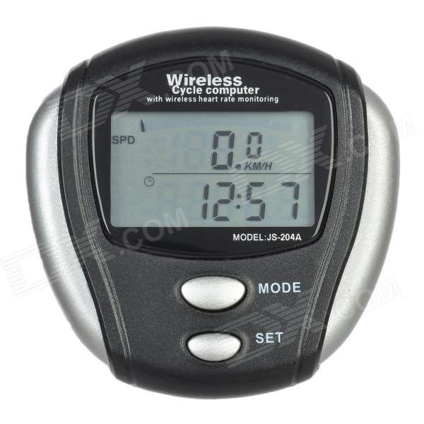 "JS-204A 12-Function 1.5"" LCD Wireless Pulse Measuring Bicycle Computer - Black + Silver"