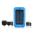 Solar Powered Rechargeable 3500mAh Portable Mobile Power Charger w/ Adapters - Blue