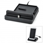 Twin USB Cradle w/ 2nd Battery Slot + 2-Round-Pin Plug for Samsung Galaxy Note 2 / N7100 - Black