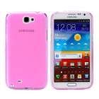 Protective TPU Back Case w/ Screen Protector for Samsung Galaxy Note II N7100 - Translucent Pink