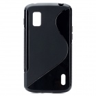 """S"" Style Protective TPU Back Case for LG Nexus 4 E960 - Black"