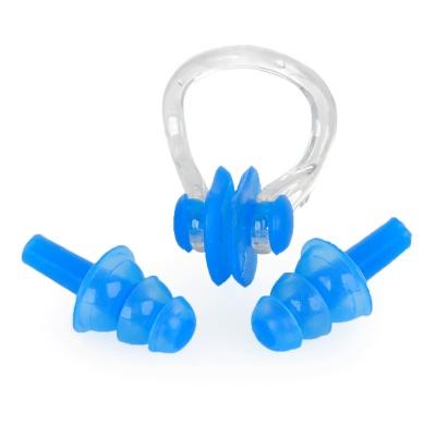 Silicone Swimming Ear Plugs + Nose Clip Set - Blue
