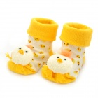 0719 Cartoon Chick Pattern Anti-Slip Baby's Socks - Yellow (Pair)