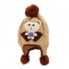 Cartoon Bear Pattern Kid Das Garn gestrickt Double-Layer Cap / Mütze - Beige + Kaffee