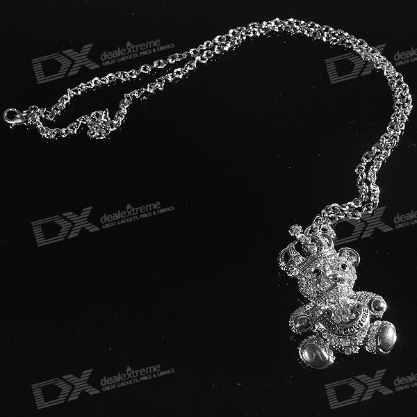 Crystal Crown Bear Necklace (65cm)