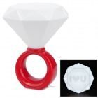 Diamond Ring Style 5W Warm White Light Lamp - Red + White (AC 110~250V / 2-Round-Flat-Pin Plug)