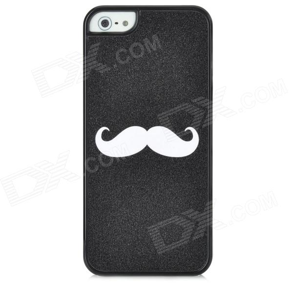 Mustache Pattern Protective Plastic Back Case for Iphone 5 - Black protective creative mustache pattern back case for iphone 4 4s black white