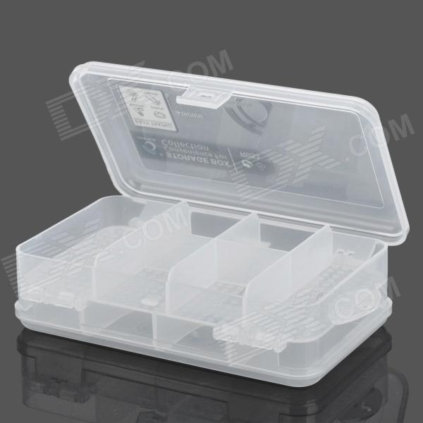 10-Compartment Double-side Plastic Storage Box for Hardware Tools / Gadgets - Translucent White e108 6 compartment plastic storage box translucent white