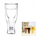 Creative Double Walled Upside Down Beer Bottle Style Glass Cup - Transparent