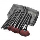 Makeup Brushes Set w/ Elegant PU Leather Carrying Bag - Black (32PCS)