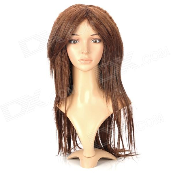 Fashionable Lady's Curly + Straight Long Hair Wig - Brown