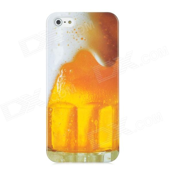 Beer Mug Protective Plastic Back Case w/ Glossy Screen Guard for Iphone 5 -Yellow