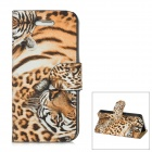 Cool Tiger Pattern PU Leather Flip Case for Iphone 5 - Yellow