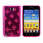 Protective Rhombus Style TPU Back Case for Samsung Galaxy Note i9220 - Translucent Deep Pink