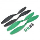 HJ 12 x 3.8'' Carbon Fiber CW / CCW Propellers for Multi-axis R/C Airplane - Black + Green (2 Pairs)