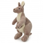 Cute Soft Plush Kangaroo with Baby in Pouch Toy - Grey + White