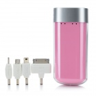 Portable External 4400mAh Emergency Mobile Power Battery Charger für Handy - Pink + Silver