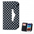 Polka Dot Style Protective PU Leather Case w/ Card Slot for Samsung Galaxy Note II N7100 - Black