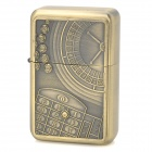 Roulette Wheel and Betting Board Pattern Zinc Alloy Fuel Oil Lighter - Golden