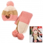Stripe Pattern Kid's Wool Warm Hat + Scarf Set - Pink + White + Brown