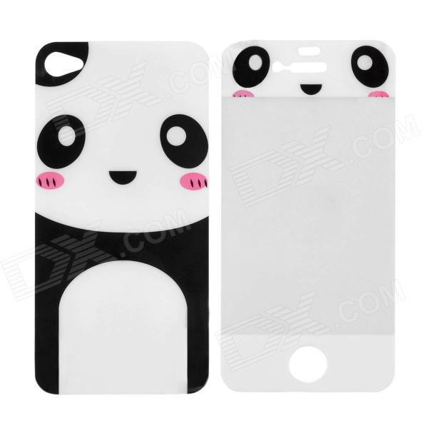 Panda Pattern Protective Front Screen + Back Skin Protector Set for Iphone 4 / 4S - White london pattern protective plastic back case w front screen protector for iphone 5 grey red