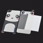Panda Pattern Protective Front Screen + Back Skin Protector Set for Iphone 4 / 4S - White