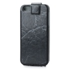 Dual Windows Protective PU Leather Cover PC Back Case for Iphone 5 - Black