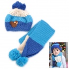 Stripe Pattern Kid's Wool Warm Hat + Scarf Set - Blue + Deep Blue + Beige
