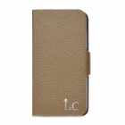 Protective Genuine Cow Leather Cover PC Back Case w/ Card Slots for iPhone 5 -Brown