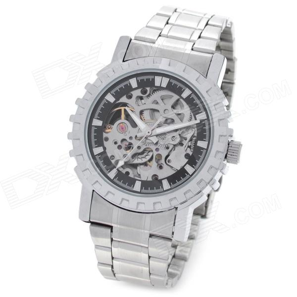CJIABA GK8007-B Stainless Steel Men's Self-Winding Mechanical Skeleton Wrist Watch - Silver + Black