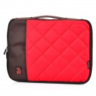 "Stylish Portable Protective Nylon Soft Sleeve Case Bag for 14"" Laptop Notebook - Red + Coffee"