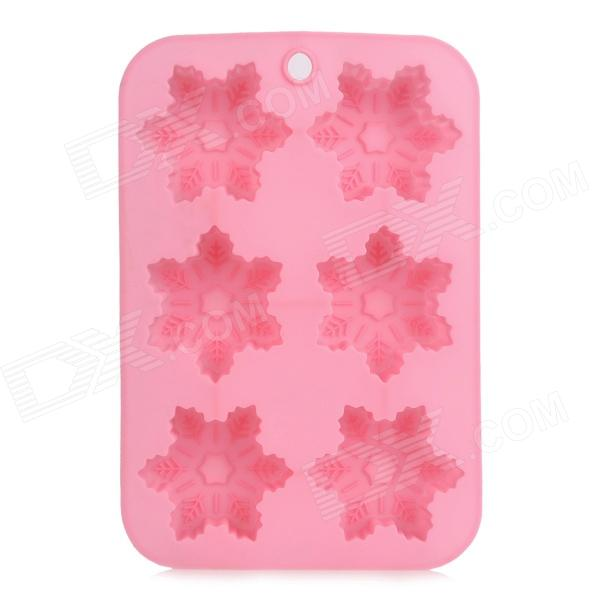 Christmas Snowflake Style 6-Cup Silicone DIY Muffin Tray Cupcake Cake Case Mold - Pink sp008 diy silicone button flower style cookie cake mold pink