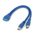 USB 3.0 19-Pin Male to Dual USB 3.0 Male Adapter Cable - Blue