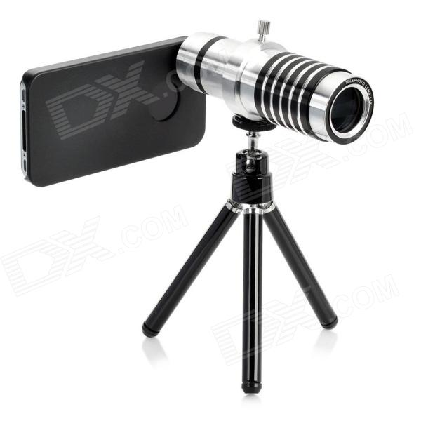 Detachable 14x Camera Zoom Optical Telescope Telephoto Lens Set for Iphone 4 / 4S - Silver + Black detachable 14x camera zoom optical telescope telephoto lens set for iphone 4 4s silver black