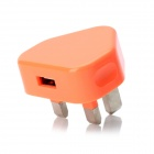 Mini 1A USB Power Adapter / Charger - Orange + Silver (UK Plug / 100~240V)