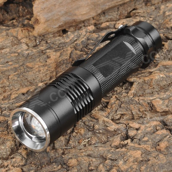 SMILING SHARK SS-8027 160lm White Zooming Flashlight w/ Cree XR-E Q5 - Black (1 x AA)