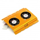 FS01 Dual-Fan 9-Blade Aluminum USB Fan for 3.5&quot; HDD - Golden