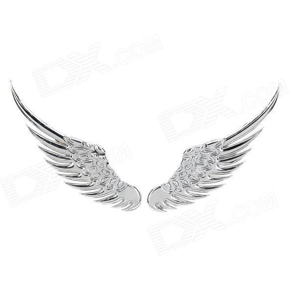 3D Angel's Wings Shaped Stainless Steel Car Decoration Sticker - Silver (2 PCS) new safurance 200w 12v loud speaker car horn siren warning alarm stainless steel home security safety