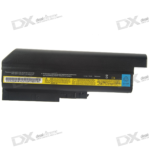 IBM T60H Compatible 7800mAh Replacement Lithium Battery Pack for R60/T60/Z61-Series Laptops (Black)